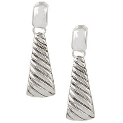 Napier Textured Silver Tone Clip On Earrings