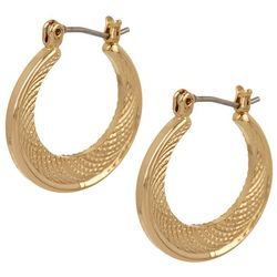 Napier Gold Tone Textured Small Hoop Earrings