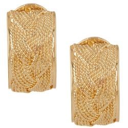 Napier Gold Tone Thick Hoop Clip On Earrings