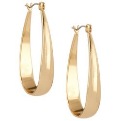 Napier Gold Tone Medium Oval Hoop Earrings