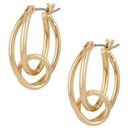Napier Gold Tone Oval Loop Hoop Earrings
