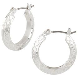 Napier Silver Tone Small Textured Hoop Earrings
