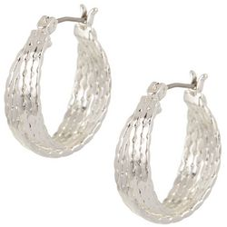 Napier Silver Tone Layered Double Hoop Earrings