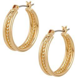 Napier Gold Tone Small Rope Hoop Earrings