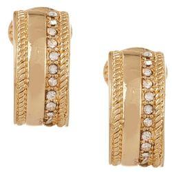 Napier Gold Tone Rhinestone Hoop Clip On Earrings