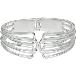 Napier Silver Tone Open Rows Hinged Cuff Bracelet