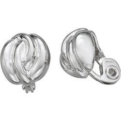 Napier Small Silver Tone Twist Clip Earrings