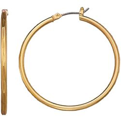 Napier Gold Tone Thin Textured Hoop Earring