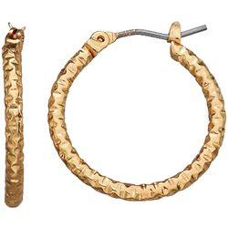 Napier Small Gold Tone Textured Hoop Earring
