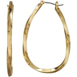 Napier Gold Tone Oval Twist Hoop Earrings