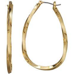 Napier Gold Tone Oval Twist Hoop Earrings