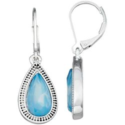 Napier Blue Facet Teardrop Leverback Earrings