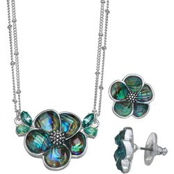 Napier Abalone Flower Necklace & Earring Set