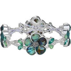 Napier Abalone Flower & Rhinestone Bracelet