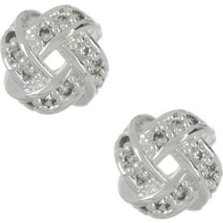 Napier 6mm Small Rhinestone Knot Button Earrings
