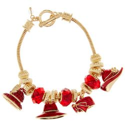 Napier Red Hat & Gold Tone Slider Charm Bracelet