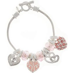 Napier Pink Rhinestone Heart Charm Slider Bead Bracelet