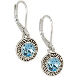 Napier Aqua Blue Stone Round Drop Earrings