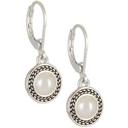 Napier Silver Tone Round Faux Pearl Drop Earrings