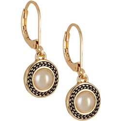 Napier Gold Tone Round Faux Pearl Drop Earrings