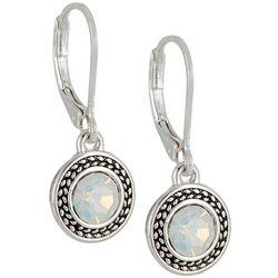 Napier Silver Tone Round Opal Drop Earrings