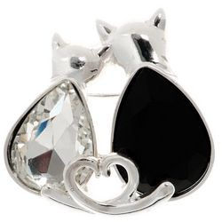 Pet Friends Jet Black & Multi-Faceted Clear Stone Cats Pin