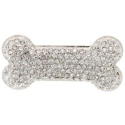 Pet Friends Silver Tone Rhinestone Bone Pin