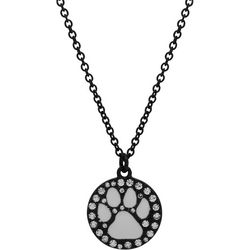 Pet Friends Black Plate Paw Print Necklace
