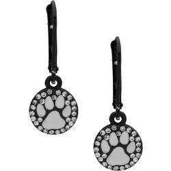 Pet Friends CZ Paw Print Disc Drop Earrings