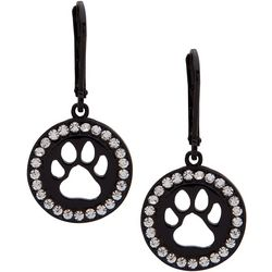 Pet Friends Black Plate Paw Print Cutout Earrings