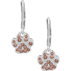 Pet Friends Rose Gold Tone & Silver Tone Paw Drop Earrings