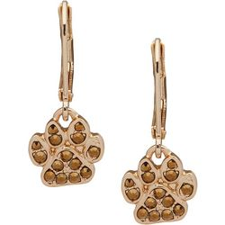 Pet Friends Dorado Gold Tone Paw Drop Earrings