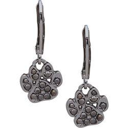 Pet Friends Hemaite Tone & Stone Paw Drop Earrings