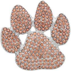 Pet Friends Pave Rose Gold Tone Rhinestone Paw Print Pin