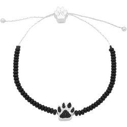 Pet Friends Black Bead & Paw Print Slide Bracelet