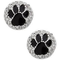 Pet Friends Black Paw Print Disc Stud Earrings