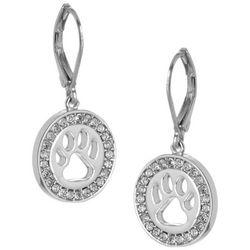Pet Friends Silver Tone Rhinestone Paw Drop Earrings