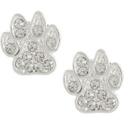 Pet Friends Silver Tone Pave Paw Stud Earrings