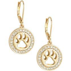 Pet Friends Gold Tone Rhinestone Paw Drop Earrings