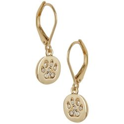 Pet Friends Gold Tone Pave Rhinestones Paw Print Earrings