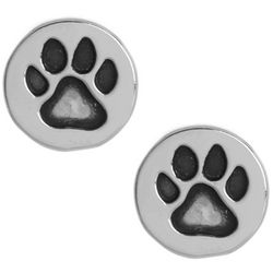 Pet Friends Silver Tone Paw Print Disc Stud Earrings