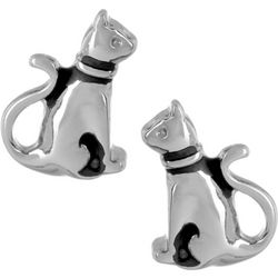 Pet Friends Silver Tone Sitting Cat Earrings