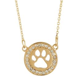 Pet Friends Gold Tone Circle Paw Pendant Necklace