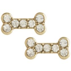Pet Friends Rhinestone Bone Gold Tone Stud Earrings