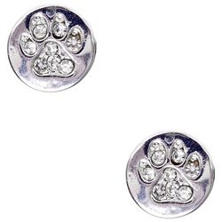 Pet Friends Silver Tone Pave Paw Button Stud Earrings