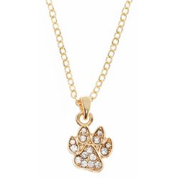 Pet Friends Gold Tone Rhinestone Paw Print Necklace