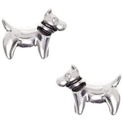 Pet Friends Dog Button Rhinestone Silver Tone Stud Earrings