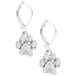 Pet Friends Silver Tone Paw Print Drop Earrings