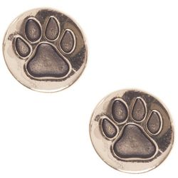 Pet Friends Gold Tone Paw Print Disc Stud Earrings