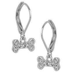 Pet Friends Silver Tone Rhinestone Bone Drop Earrings